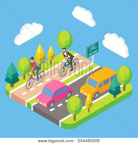 Vector 3d isometric illustration of people riding bicycles on bike lane. Bikers cycling on bike path. Bike route concept design element.