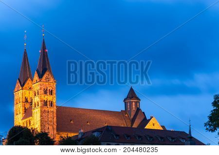 The Illuminated Cathedral Of The Small German Town Fritzlar