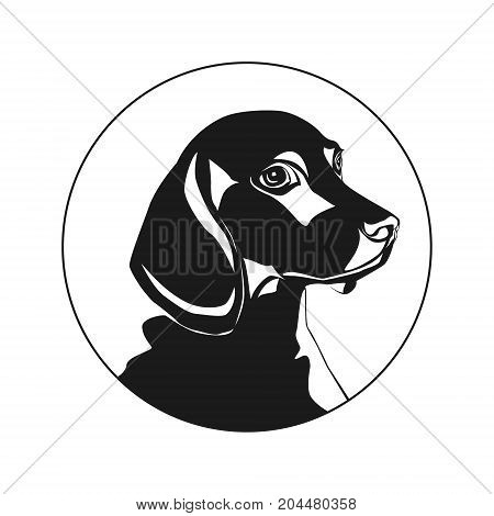 Logo In The Shape Of A Dog, Picture Of A Cute Dog. Dog. Vector Illustration. Isolated On White Backg