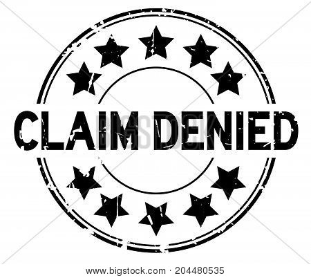 Grunge black claim denied with star icon round rubber seal stamp on white background