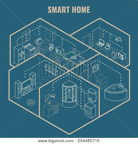 Smart house concept vector 3d isometric blueprint illustration. Cutaway home interior with smart phone controlled household and bathroom appliances.