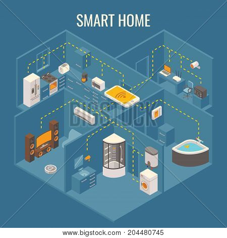 Smart house concept vector flat 3d isometric illustration. Cutaway home interior with smart phone controlled household and bathroom appliances.
