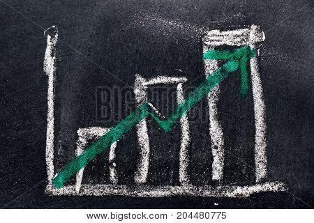 White chalk draw as bar chart and green chalk draw as upward arrow on black board background (Concept for sale profit cost of company in uptrend)