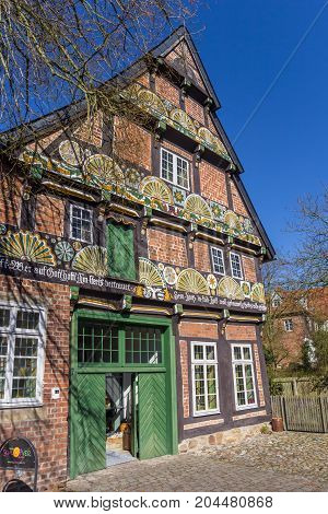 VERDEN, GERMANY - MARCH 27, 2017: Historical house Ackerburgerhaus in the center of Verden, Germany