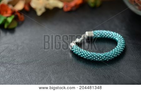 Bead Crochet Bracelet Turquoise Color On A Dark Background