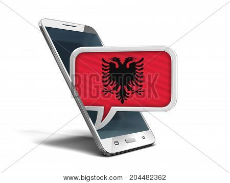 3d illustration. Touchscreen smartphone and Speech bubble with Albanian flag. Image with clipping path