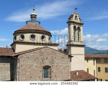 Beautiful renaissance basilica in Prato -Santa Maria delle Carceri church, Tuscany, Italy