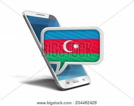 3d illustration. Touchscreen smartphone and Speech bubble with Azerbaijan flag. Image with clipping path