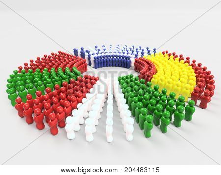 3D Illustration Flag of PIGS countries made of little men walking in circle against a clear background