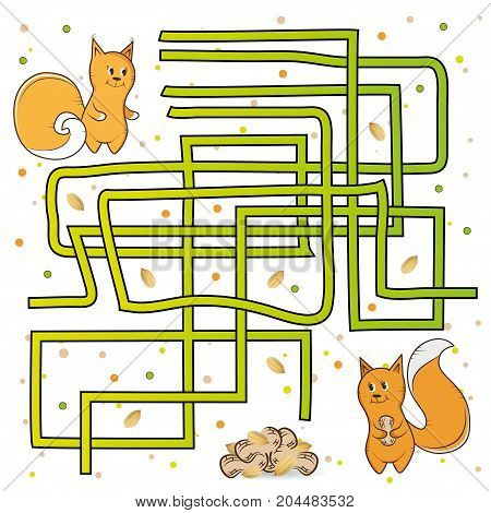 Maze help the squirrel find the way to the other squirrel with nuts