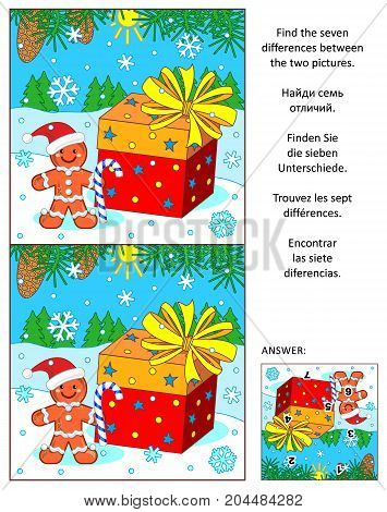Christmas or New Year visual puzzle: Find the seven differences between the two pictures of ginger man, holiday present, fir tree branches and snowflakes. Answer included.