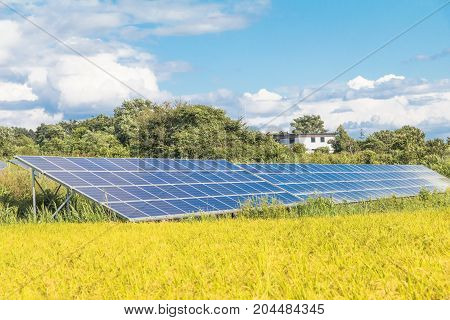 Solar power panels Photovoltaic modules for innovation green energy for life with blue sky background .