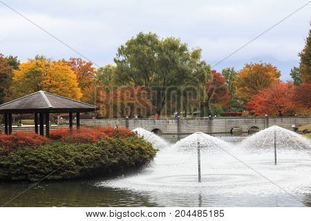 Japan autumn Fountain in soft focus and blur style Obuse park NaganoJapan.
