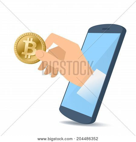 A human hand from the mobile phone screen holding a bitcoin. Money, banking, online payment, buying, electronic business concept. Flat illustration of hand, phone, bitcoin. Vector material design.