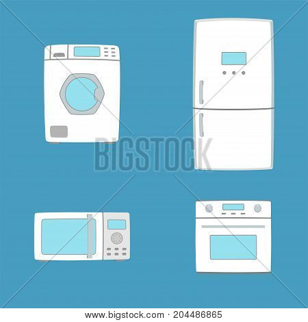 Household appliances. Washing machine oven microwave oven and refrigerator. Flat style household appliances. Vector illustration.