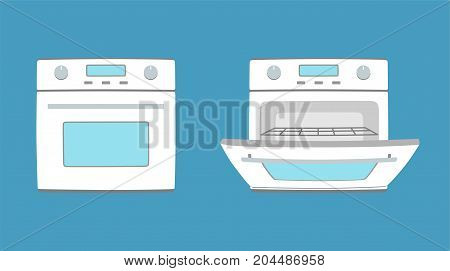 Kitchen appliance oven illustration. Oven in flat style. Vector illustration.