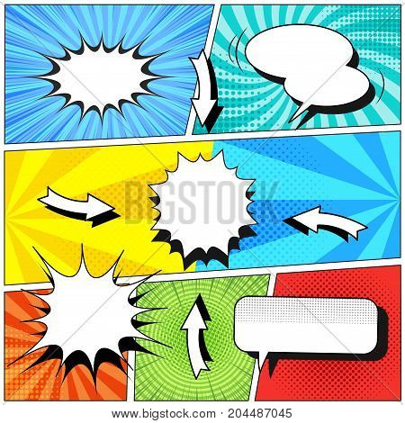 Comic book colorful template with various blank speech bubbles, arrows, rays, radial, sound, halftone and dotted effects on different pop art backgrounds. Vector illustration