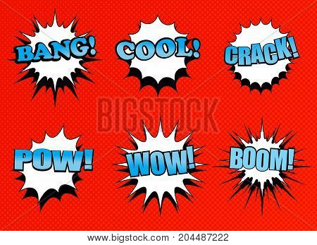 Comic speech bubbles collection with white clouds of various shapes and different blue words on halftone red background in pop art style. Vector illustration