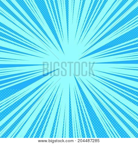 Comic book page bright blue background with rays and halftone effects in pop art style. Vector illustration