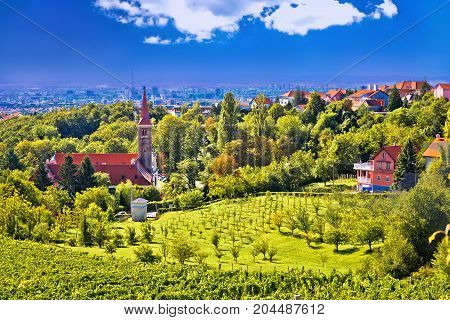 Church On Green Hill Above Croatian Capital Zagreb