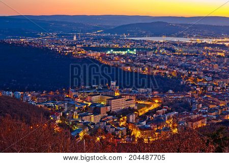 Aerial Evening View Of Trieste