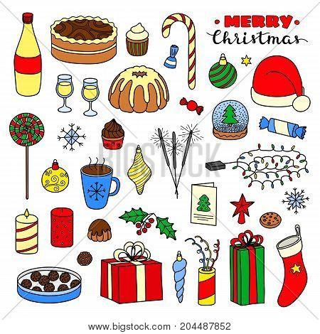 Big collection of Christmas and New Year holiday hand drawn colored items isolated on white background.