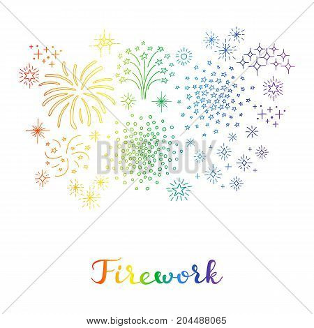 Composition of doodle colorful fireworks with lettering isolated on white background.