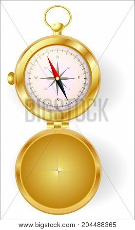 A Golden Compass With Lid With A Wind Rose On A Gold Chain. North, South, West, East, Geography, Coo