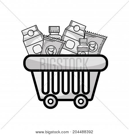 grayscale shopping basket with delicious products to buy vector illustration