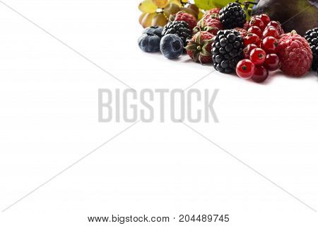 Ripe blackberries red currants grapes raspberries blueberries and plums. Various fresh summer berries on white background. Berries with copy space for text. Background berries.