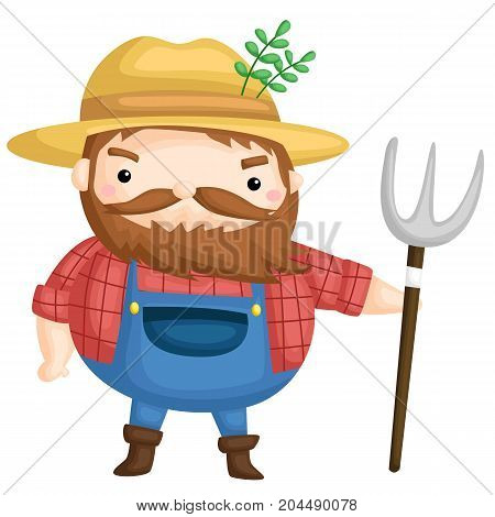 an old farmer ready with his pitchfork
