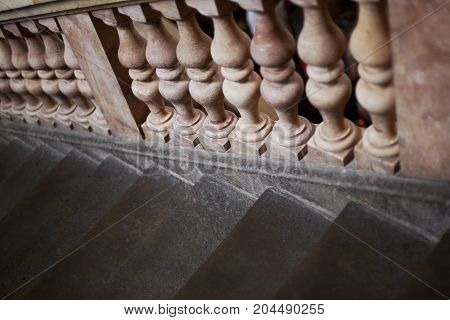 Balusters of marble and stone stairs in a palace in France