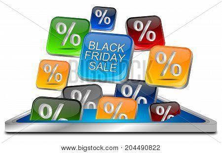 colorful Black Friday Sale buttons- 3D illustration