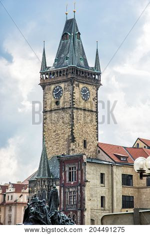 Old town hall with Jan Hus memorial in Prague Czech republic. Architectural scene. Travel destination.