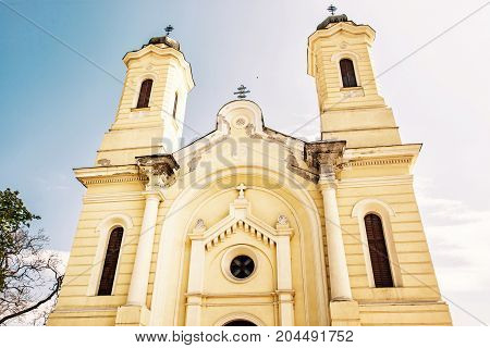 Cathedral of the nativity of the mother of god Kosice Slovak republic. Religious architecture. Yellow photo filter.