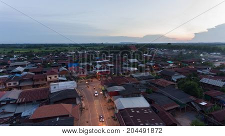 High angle view of village and sky in Thailand