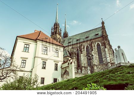 Famous Cathedral of St. Peter and Paul Brno Moravia Czech republic. Travel destination. Religious architecture. Retro photo filter.
