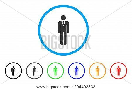 Gentleman icon. Vector illustration style is a flat iconic gentleman gray rounded symbol inside light blue circle with black, gray, green, blue, red, orange color versions.