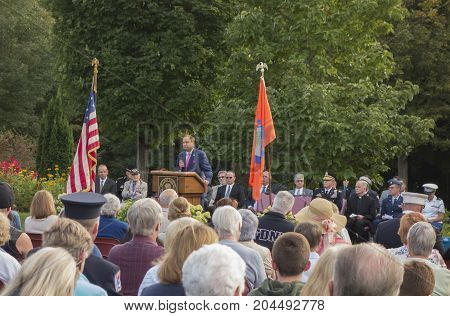 MONTGOMERY NEW YORK - SEPTEMBER 11 2017. New York Senator John Bonacic speaks during the Patriots Day ceremony held at the Orange County Arboretum in Montgomery NY.