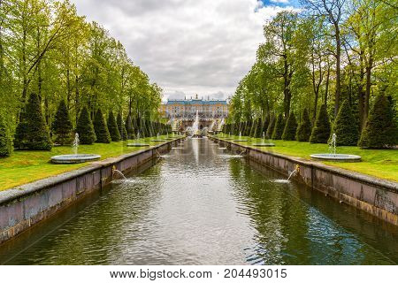 Peterhof, Russia - June 03. 2017. View of the Grand Palace from the side of the canal
