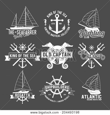 Set of vintage yacht club badges and logotypes. Vintage retro nautical  emblems and labels