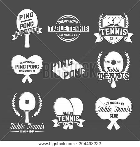 Set of table tennis ping pong labels, logos, badges and design elements. Sport logotype template