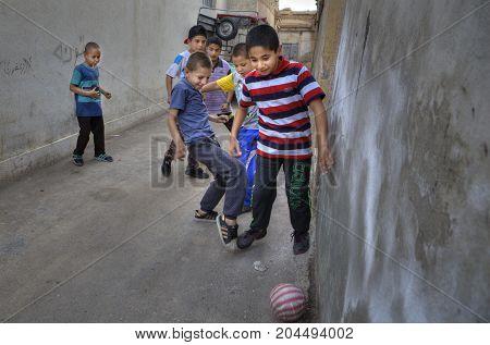 Fars Province Shiraz Iran - 18 april 2017: Iranian teenagers play in domestic football.