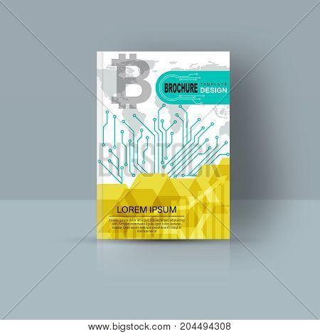 Magazine cover with geometrical figures.Design template for the brochure the book a flyer the annual report the booklet the poster the leaflet a card corporate business.A4 format. Vector illustration.