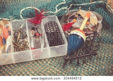 Storage Box With Accessories For Fishing.