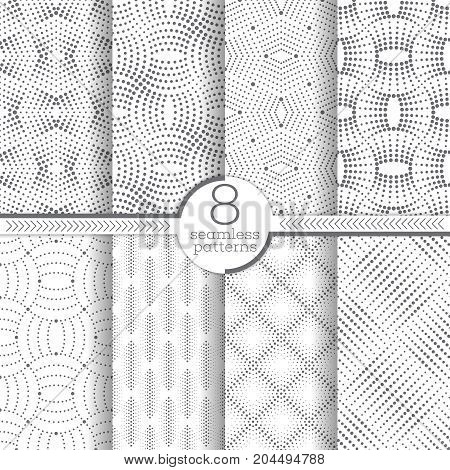 Set of vector seamless patterns. Modern stylish geometric textures with small dots. Infinitely repeating geometrical ornaments with dotted shapes: zigzag rhombus diamond zigzag waves dotted lines.