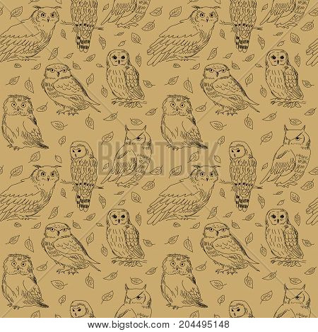 Seamless texture with a decorative stylized owls and leaves