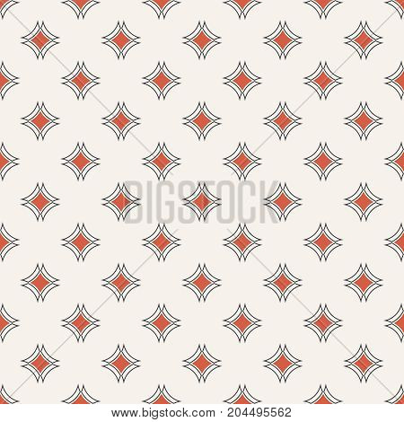 Vector seamless pattern. Abstract small textured background. Classical simple geometrical texture with repeating rhombuses arcs. Surface for wrapping paper shirts cloths press.