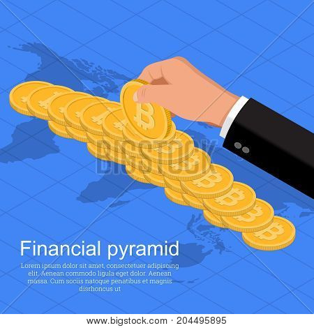 The businessman's hand supporting a pyramid from coins bitcoin.World business concept.Distribution of cryptocurrency in the world.Isometry. Flat style. Vector illustration.