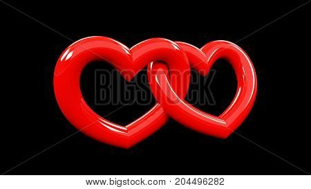 3d rendering of tow red heart attached to each other. isolated on a black background. valentine day